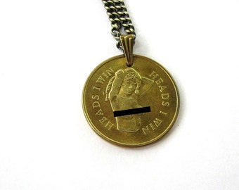 heads I win tails you lose coin necklace . vintage novelty coin jewelry . MATURE necklace . nude woman