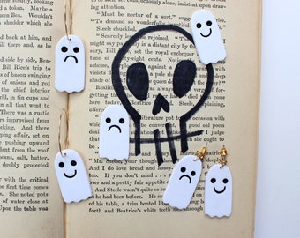 Halloween ghost earrings - choose hoops, dangles or studs, cute spoopy smiley face and frowny sad face