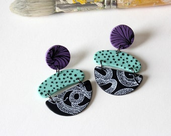 color block snake earrings, black mint and purple with polka dots