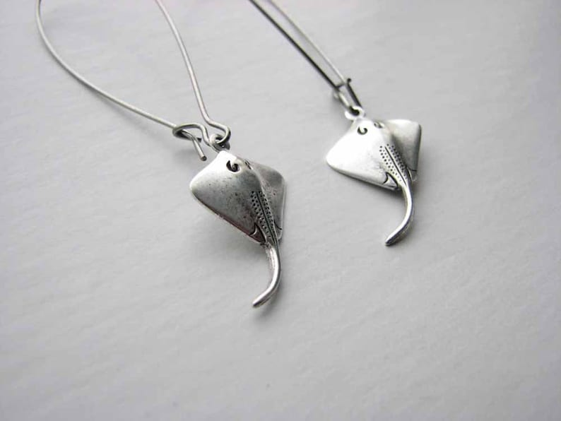 silver stingray earrings choose short or long