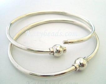 "7"" solid 925 Sterling silver Charm Bangle Bracelet screw ball clasp cape cod bracelet"