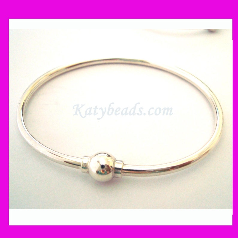 """925 Silver Removable Ends 7/"""" Sterling Silver Charm Cuff Bangle Bracelet"""