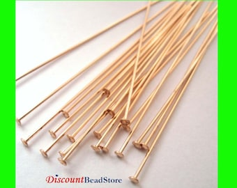 22 gauge 14k yellow  gold filled flat dome Cupped Head pin 2 inches GF10