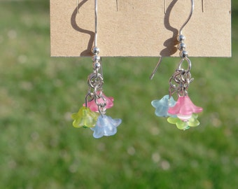 Pink, Green, and Blue Silver Drop Flower Earrings