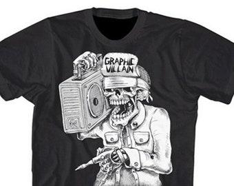 Graphic Villain Suicidal Boombox logo Shirt