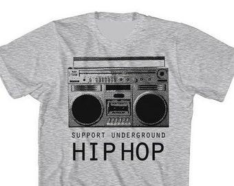 Support Underground Hip Hop Boombox shirt by Graphic Villain
