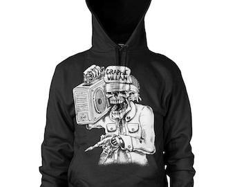 Graphic Villain suicidal boombox logo hoodie