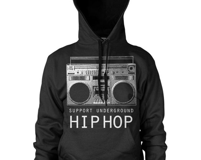 Support Underground Hip Hop BoomBox Hoodie by Graphic Villain