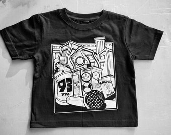 93 Til' Infinity youth Shirt by Graphic Villain. Printed on ultra soft ring spun cotton