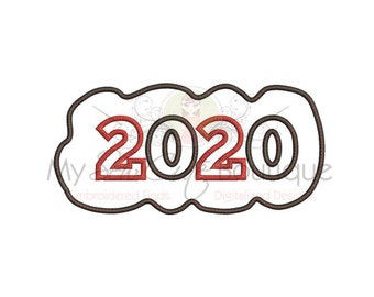 2020 Applique Machine Embroidery Design - 4 Sizes - Instant Download