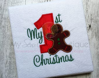 1st Christmas Applique Designs Machine Baby Embroidery Files - Applique Downloads - Holiday Appliques - 8 Sizes - Instant Download