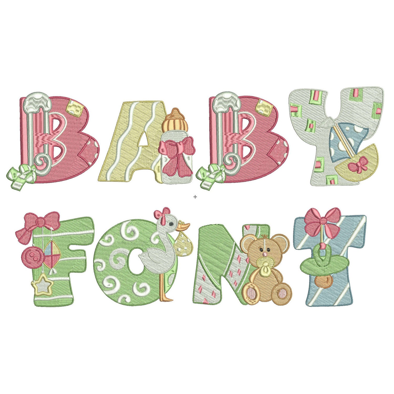 Baby Machine Embroidery Font Monogram Alphabet Baby | Etsy