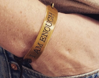 Custom Brass Bracelet. Unisex. Adjustable. Hand Stamped repurposed Made to order Brass by Melissa of the JunkGirls