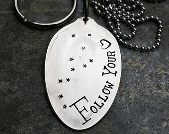 Follow Your Heart - Hand Stamped Silver Plate Teaspoon Necklace or Keychain by Melissa of the JunkGirls