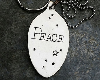PEACE - Hand Stamped Silver Plate Tablespoon Keychainby Melissa of the JunkGirls