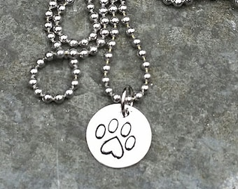 Heart Paw Necklace on Silver Plate Hand-stamped by Melissa