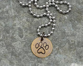 Heart Paw Necklace on Brass Hand-stamped by Melissa