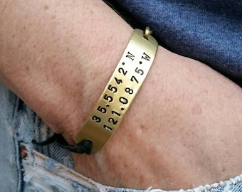 Custom coordinates bracelet. Unisex. Adjustable. Hand Stamped repurposed Brass by Melissa of the JunkGirls