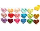 Crochet hearts applique - Valentines day embellishments - hearts decorations - colorful hearts - kids party decor - set of 18