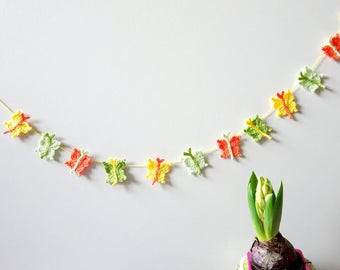 Spring butterflies garland -  spring decor - crochet butterflies decor - Easter decor - yellow butterflies - pastel home decor  ~31.5 inches