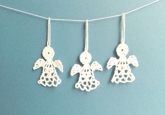 Christmas Angels Decorations Crochet Angels Gift Wrapping Ornaments White Angels Ornaments Holiday Ornaments Set Of 3 2 X 2 6 In
