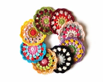 Crochet mandala circle applique - crochet circle - colorful mandala applique - mandala embellishment - mandala decor - 1 piece  ~3 inches