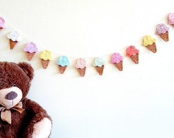 Ice cream garland - Kids wall garland - crochet ice cream cone decor - colorful kids party decorations - icecream cone party decor ~35.5 in