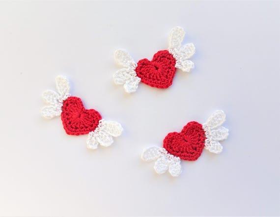 Valentines day hearts decorations crochet hearts applique etsy