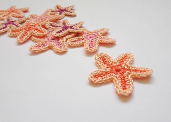 Starfish Applique Crochet Sea Stars Applique Beach Party Etsy