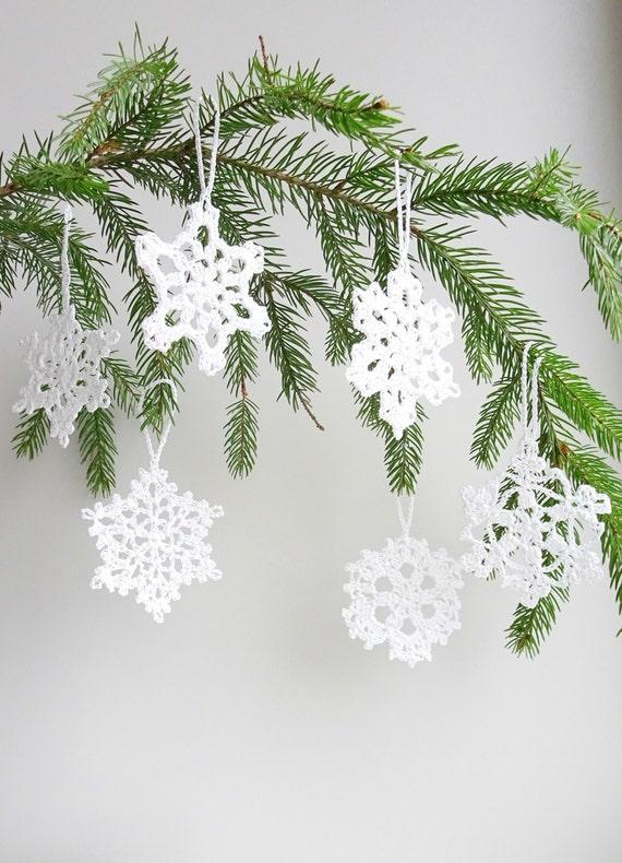 Christbaumschmuck Hakeln Schneeflocken Ornamente Urlaub Etsy