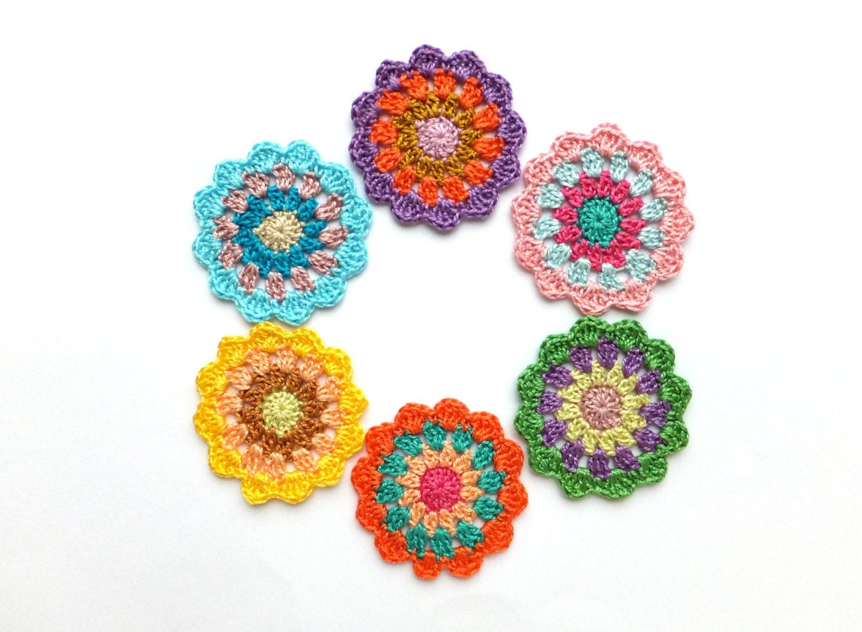 Crochet Mandala Circles Colorful Mandala Decorations Etsy