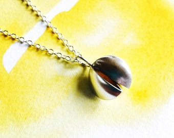 Large silver and gold split pod necklace