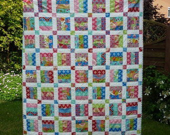 PDF Quilt Pattern, Jelly Roll Pattern, Easy Quilt Pattern, Quilt Pattern PDF, Baby Quilt Pattern, 6 sizes baby to king, Picnic in the Park