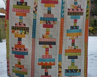 Jelly Roll Quilt Pattern, PDF Quilt Pattern, Easy Quilt Pattern, Modern Quilt Pattern, 4 sizes Crib, Throw, Twin, Queen - Balancing Act