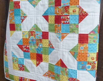 PDF Quilt Pattern, Jelly Roll Pattern, Modern Quilt Pattern, Easy Quilt Pattern, Baby Quilt Pattern, 5 sizes from Crib to King, Sunny Days