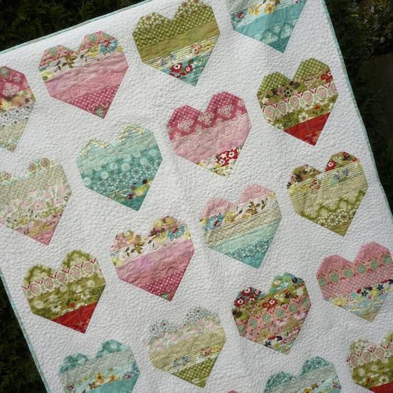 PDF Quilt Pattern  Modern Quilt Pattern Heart Quilt Pattern