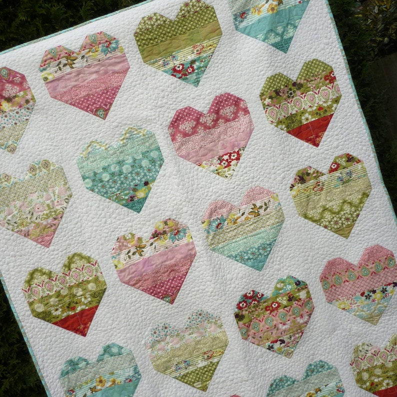 Pdf Quilt Pattern Modern Quilt Pattern Heart Quilt Pattern Etsy