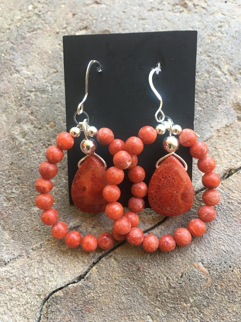 drop earringshandmade reddish orange sterling silver and sponge coral dangle earringslong beaded statement earrings women/'s gemstone