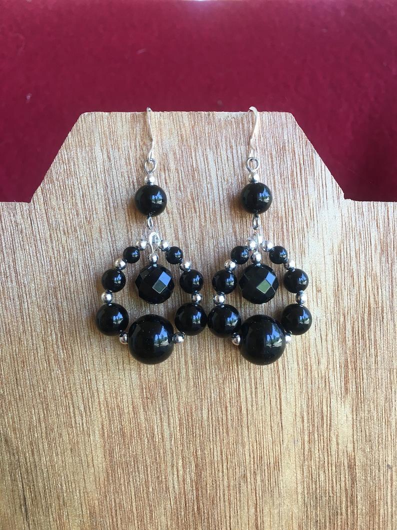 Sterling silver and black onyx dangle earringslong drop earrings women/'s beaded statement earringsstatement piece handmade