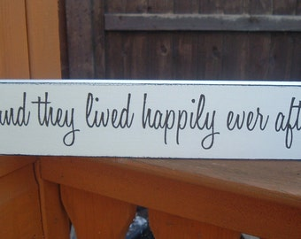 shabby chic and they lived happily ever after wedding sign wooden plaque