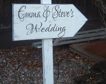 Shabby chic directional arrow this way plaque sign with stake vintage wedding bride and groom