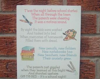 Twas the night before school children nursery wooden sign plaque