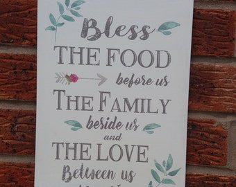 Bless the food before us the family beside us and the love between us wooden sign plaque