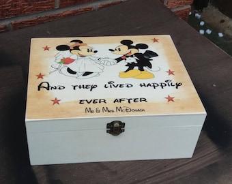 Vintage Disney Keepsake wedding Memory Box personalized wooden box  personalized xmas bride and groom