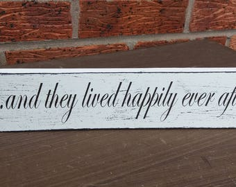 shabby chic distressed free standing wedding top table and they lived happily ever after wooden sign plaque