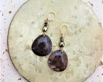 Agate and Pyrite Earrings