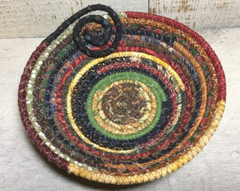 Scrappy Cotton Pottery - Fabric Coiled Bowl - Clothesline Bowl
