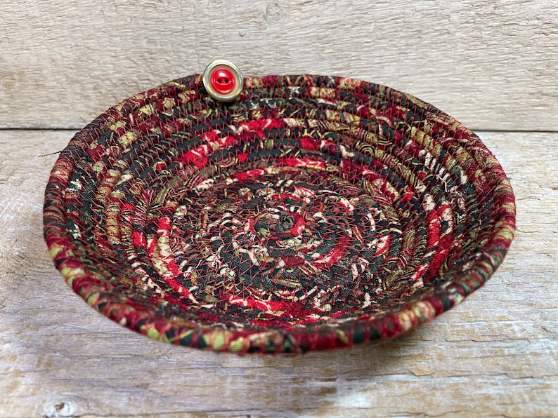 Gold and Green Cotton Pottery Bowl Red Basket Clothesline Basket Fabric Bowl