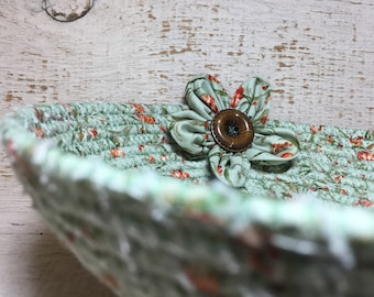 Green CottonPottery Bowl - Fabric Coiled Bowl - Clothesline Basket
