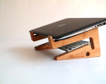 LAPTOP STAND your computer at perfect height for best working posture, elegant wood office gadget, desk space organizer for  (great as gift)